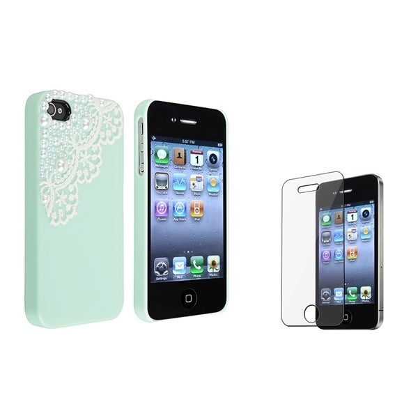 INSTEN Mint Green with Lace Phone Case Cover/ LCD Protector for Apple iPhone 4/ 4S