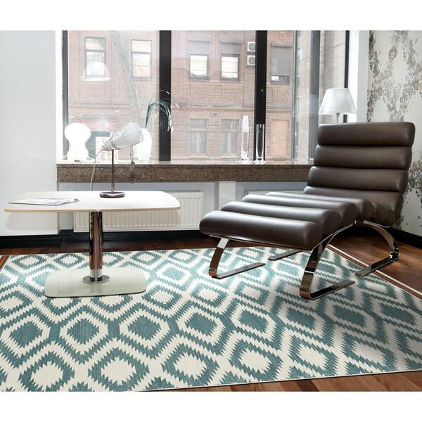 Flatweave TriBeCa Turquoise Geo Wool Rug (8' x 10')