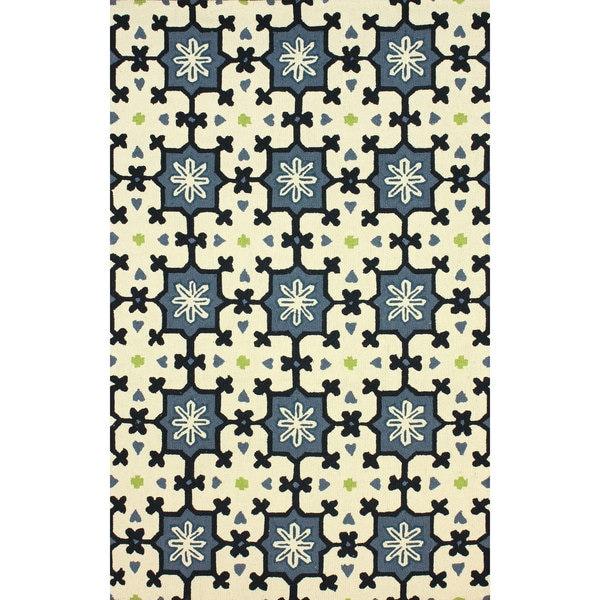 nuLOOM Hand-hooked Spanish Tiles Blue Rug - 7'6 x 9'6