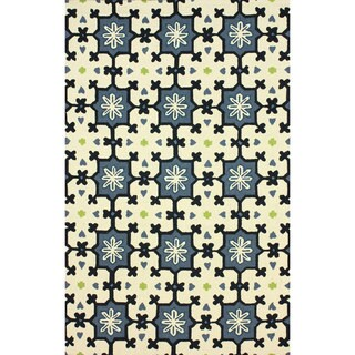 nuLOOM Hand-hooked Spanish Tiles Blue Rug (7'6 x 9'6)