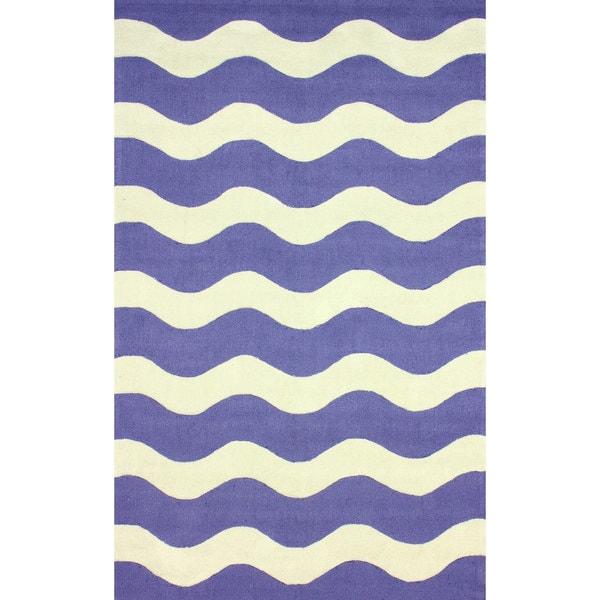 nuLOOM Hand-hooked Indoor/ Outdoor Ocean Waves Blue Rug - 7'6 x 9'6