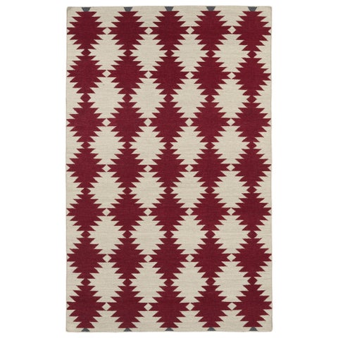 Flatweave TriBeCa Red Wordly Wool Rug - 8' x 10'