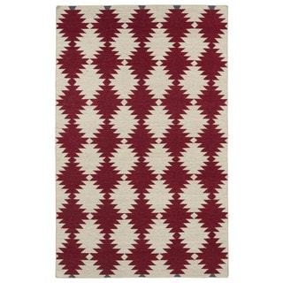 Flatweave TriBeCa Red Wordly Wool Rug (5' x 8')