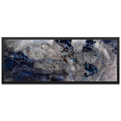 Striking Abstract 'Storm Color' Swirling Blue & Silver Modern Metal Wall Art
