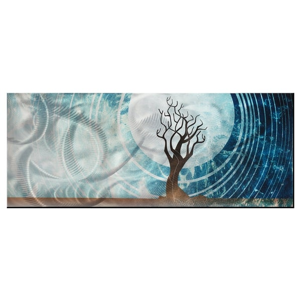 Abstract Moonlight Landscape 'Twilight' Contemporary Tree Theme Modern Metal Wall Art