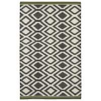 Flatweave TriBeCa Grey Geo Wool Rug - 9' x 12'