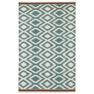 Flatweave TriBeCa Turquoise Geo Wool Rug (5' x 8')