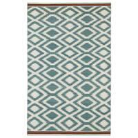 Flatweave TriBeCa Turquoise Geo Wool Rug - 5' x 8'