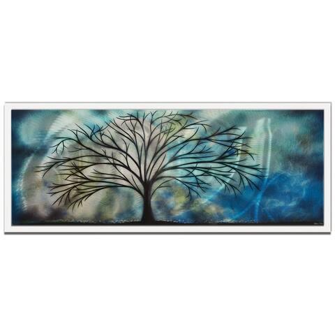 'Moonlight Serenade' Abstract Tree Art on Colored Metal