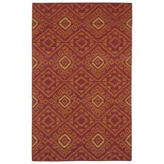 Flatweave TriBeCa Red Motif Wool Rug (8' x 10')