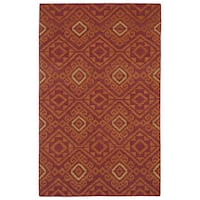 Flatweave TriBeCa Red Motif Wool Rug - 8' x 10'