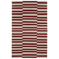 Flatweave TriBeCa Red Stripes Wool Rug - 5' x 8'