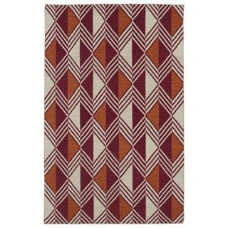 Flatweave TriBeCa Red Diamonds Wool Rug (9' x 12')