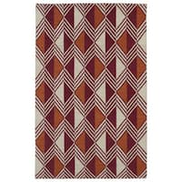 Flatweave TriBeCa Red Diamonds Wool Rug - 9' x 12'