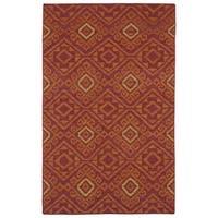 Flatweave TriBeCa Red Motif Wool Rug (2' x 3')