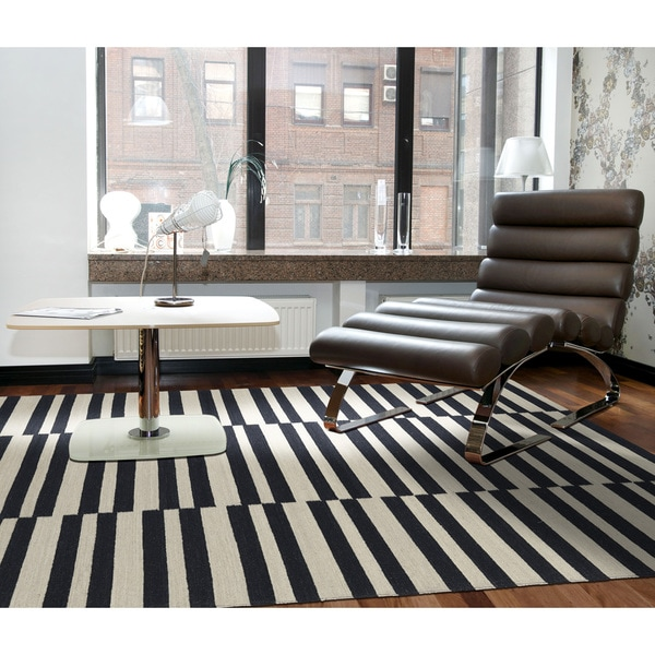 Flatweave TriBeCa Black Stripes Wool Rug - 2' x 3'