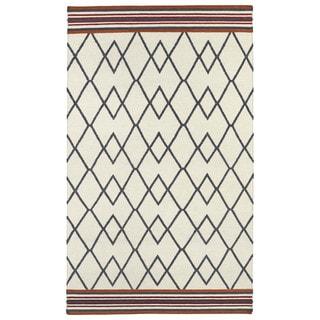 Flatweave TriBeCa Ziggy Grey Wool Rug (9' x 12')