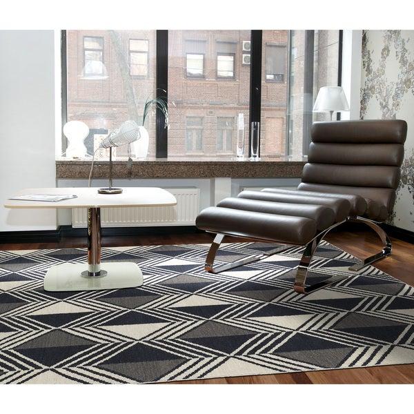 Flatweave TriBeCa Black Diamonds Wool Rug - 8' x 10'