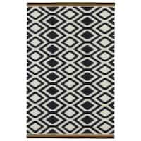 Flatweave TriBeCa Black Geo Wool Rug - 2' x 3'