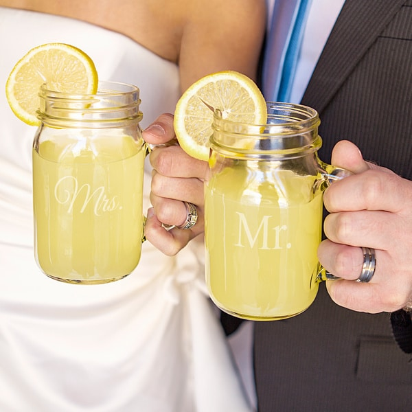 Custom Engraved Mr. and Mrs. Old Fashioned Drinking Jar Set