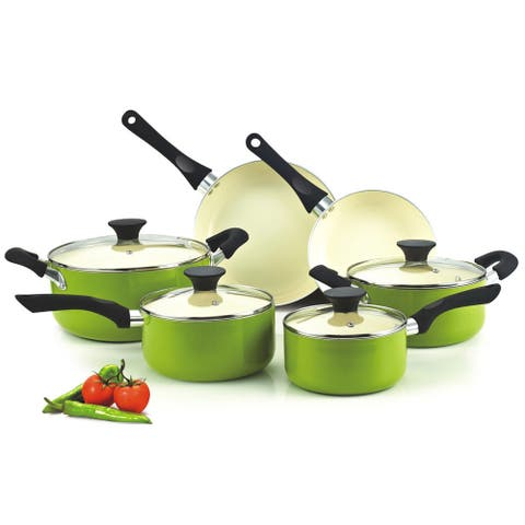 Cook N Home 10-Piece Nonstick Ceramic Coating Cookware Set, Green