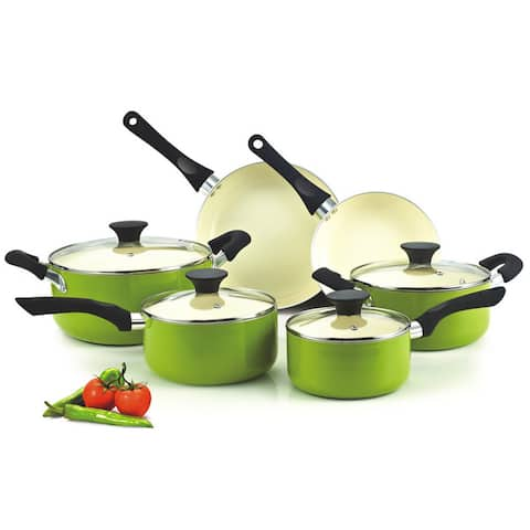 Cook N Home 10-Piece Nonstick Ceramic Coating Cookware Set, Green