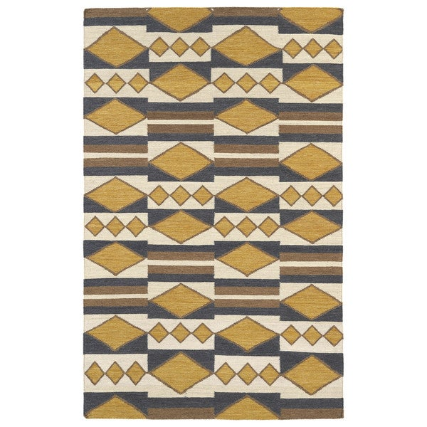 Flatweave TriBeCa Mustard Wool Rug - 9' x 12'