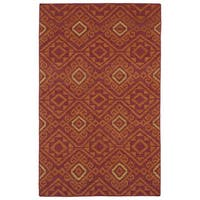 Flatweave TriBeCa Red Motif Wool Rug - 9' x 12'