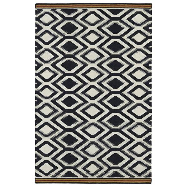 Flatweave TriBeCa Black Geo Wool Rug - 8' x 10'