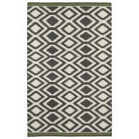 Flatweave TriBeCa Grey Geo Wool Rug - 5' x 8'