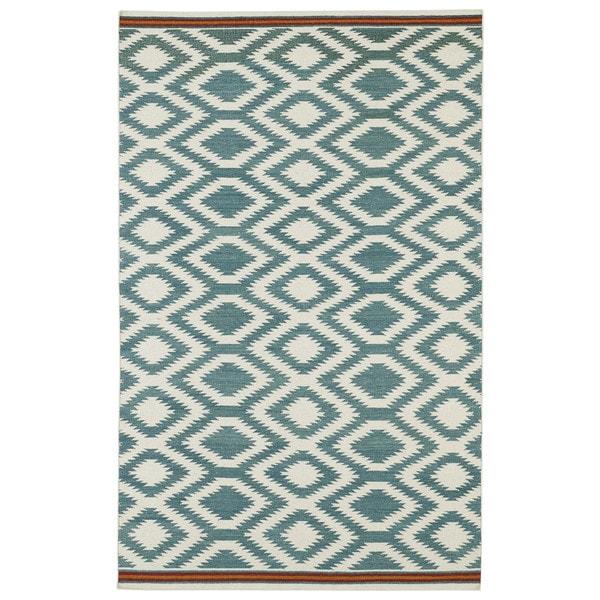 Flatweave TriBeCa Turquoise Geo Wool Rug - 9' x 12'