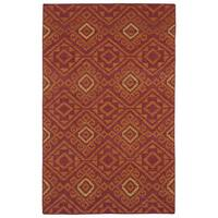 Flatweave TriBeCa Red Motif Wool Rug - 5' x 8'