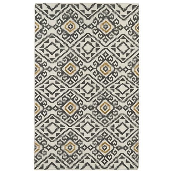 Flatweave TriBeCa Grey Motif Wool Rug (9' x 12') - 9' x 12'