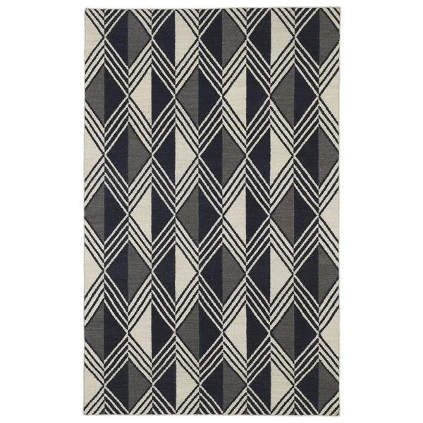 "Flatweave TriBeCa Black Diamonds Wool Rug - 3'6"" x 5'6"""