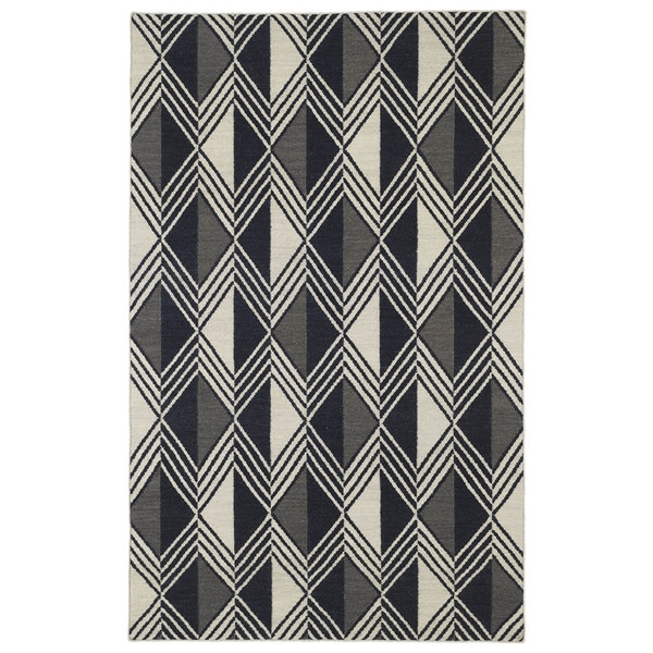 Flatweave TriBeCa Black Diamonds Wool Rug - 9' x 12'