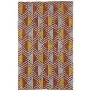 Flatweave TriBeCa Paprika Diamonds Wool Rug (2' x 3') - 2' x 3'