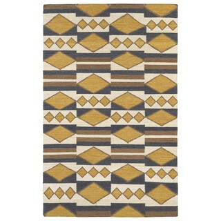 Flatweave TriBeCa Mustard Wool Rug - 2' x 3'