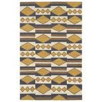 Flatweave TriBeCa Mustard Wool Rug - 3'6 x 5'6
