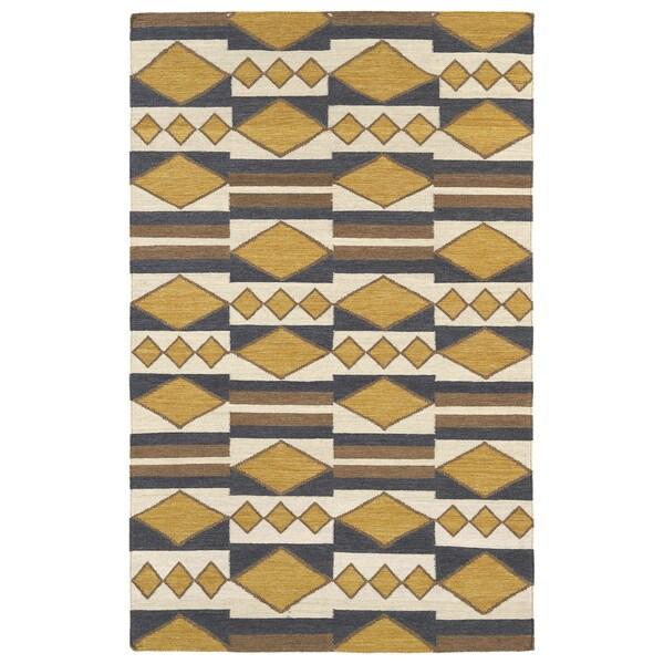 Flatweave TriBeCa Mustard Wool Rug - 5' x 8'