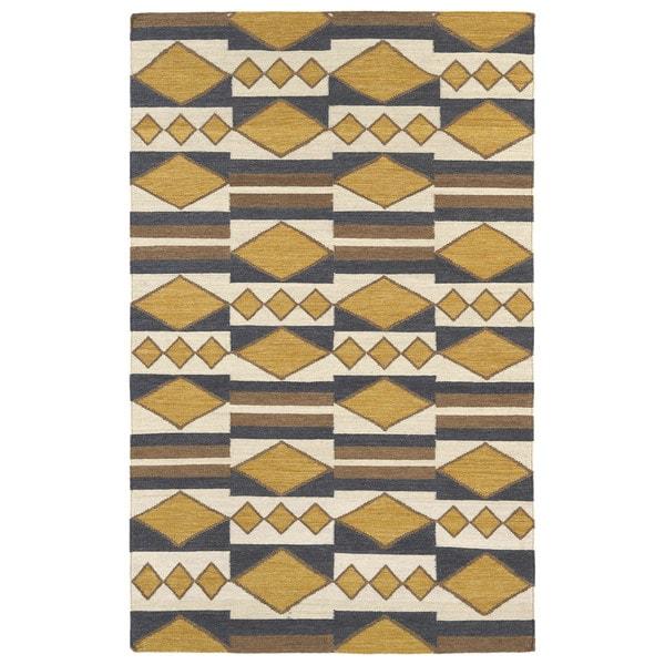 Flatweave TriBeCa Mustard Wool Rug - 8' x 10'