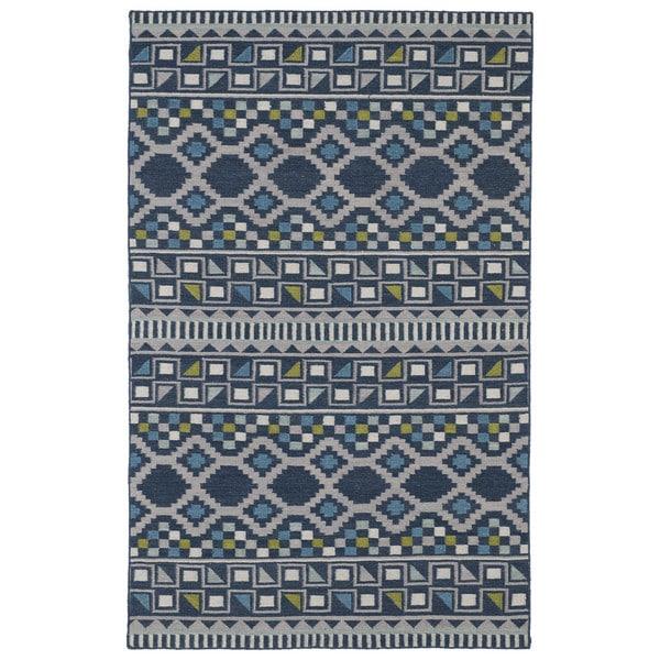 Flatweave TriBeCa Geometric Wool Blue Rug - 2' x 3'