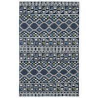 Flatweave TriBeCa Blue Wool Rug - 5' x 8'