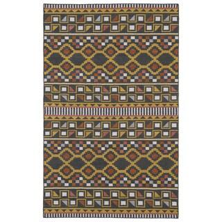 Flatweave TriBeCa Charcoal Wool Rug (5' x 8')