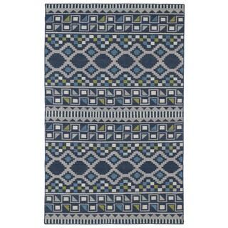 Flatweave TriBeCa Blue Wool Rug (8' x 10')