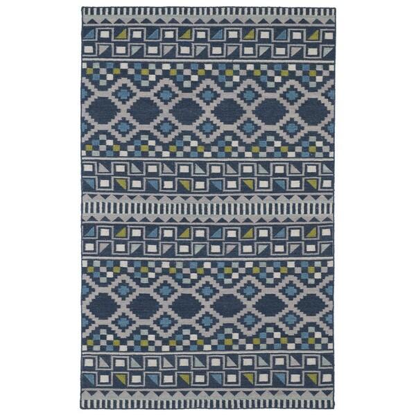 Flatweave TriBeCa Blue Wool Rug - 9' x 12'