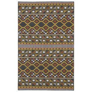 Flatweave TriBeCa Charcoal Wool Rug (3'6 x 5'6)