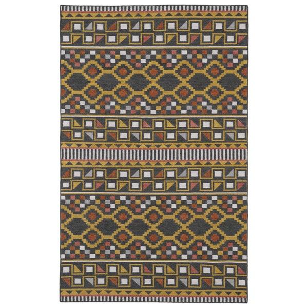 Flatweave TriBeCa Charcoal Wool Rug - 9' x 12'
