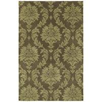 Swanky Chocolate Brown Damask Wool Rug - 9'6 x 13'