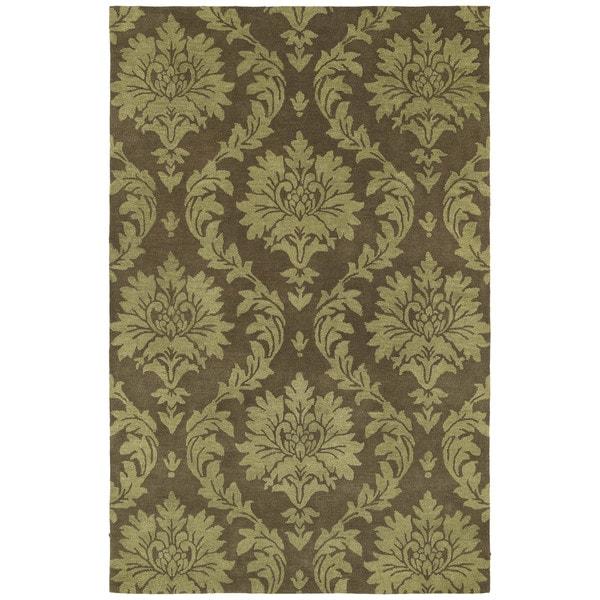Swanky Chocolate Brown Damask Wool Rug (7'6 x 9')
