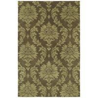 Swanky Chocolate Brown Damask Wool Rug (8' x 11')